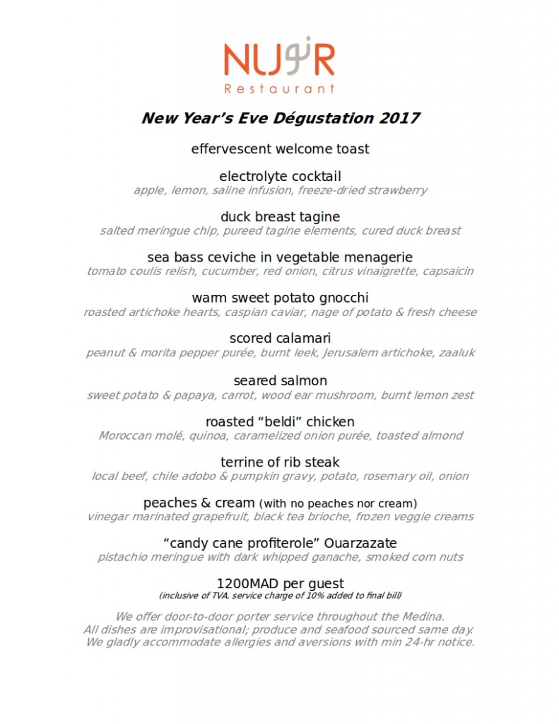 NYE 2017 Nur Degustation Menu